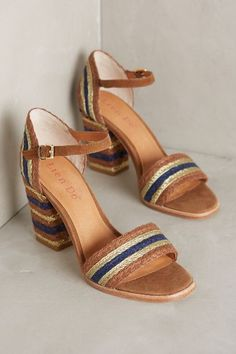 Heels i could wear.Do Gliding Stripe Heels) Shoe Boots, Shoes Heels, Anthropologie Shoes, Wrap Heels, Pink Heels, Comfortable Sandals, Clutch, Blue Brown, Wedding Shoes