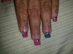 Rainbow french tip w/ star nails