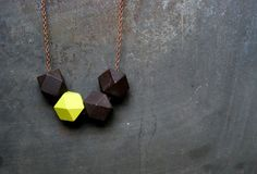 Black Walnut And Neon Green Nugget  Geometric Wood Necklace - Boho Necklace - Everyday