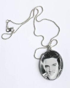 Elvis glass necklace