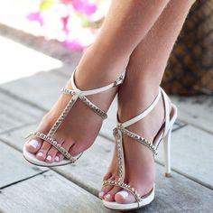 Delicious female feet Sexy Legs And Heels, Hot High Heels, High Heels Stilettos, Strappy Heels, Stiletto Heels, Cute Sandals, T Strap Sandals, T Strap Heels, Pantyhose Heels