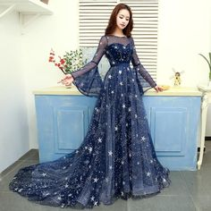 Modern / Fashion Navy Blue Evening Dresses 2019 A-Line / Princess Scoop Neck Star Sequins Bell sleeves Backless Court Train Formal Dresses Cute Prom Dresses, Ball Dresses, Elegant Dresses, Pretty Dresses, Beautiful Dresses, Ball Gowns, Formal Dresses, Banquet Dresses, Blue Evening Dresses