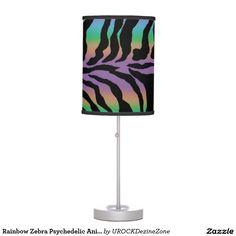 Rainbow #Zebra Psychedelic #Animal-Print Lamp