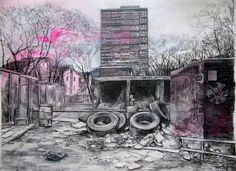 Laura Oldfield Ford – Driving Thru Wasteland Pencil Art, Pencil Drawings, 21st Century Artists, Building Sketch, A Level Art, Sense Of Place, Gcse Art, Urban Sketching, Built Environment
