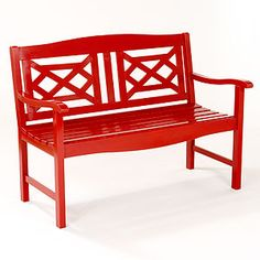 Red Wooden Garden Bench.....imagine with some yellow and white pillows on this bench..or white and turquoise.  It would be so pretty.