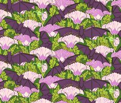 Blooming bats fabric by unseen_gallery_fabrics on Spoonflower - custom fabric