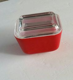 Pyrex Red Refrigerator Food Storage Bowl with by FlatRockGoods