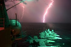Lightning storm at sea...