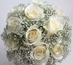 Handtied posy bouquet of ivory roses and delicate gypsophila flowers Rose And Gypsophilia Bouquet, Gypsophila Bridesmaid Bouquet, Gypsophila Wedding, Bridesmaid Flowers, Bridal Flowers, Romantic Wedding Colors, Church Wedding Flowers, White Wedding Bouquets, Flower Bouquet Wedding