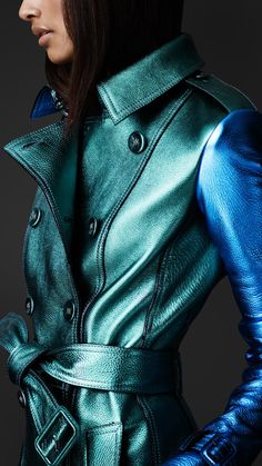 Teal and blue Burberry metallic trench -- I wouldn't have put those colors together before seeing this.