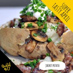 One of our favourite and trusty quick meals is a Jacket Potato. You can serve it how you like but we like ours with mushrooms, sour cream, grated cheese, spring onion, sprouts and herbs! Onion Sprouts, Grated Cheese, Quick Meals, Sour Cream, Baked Potato, Stuffed Mushrooms, Tasty, Herbs, Chicken