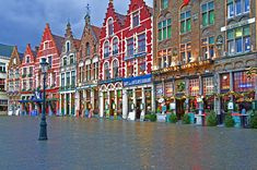 lace, tapastry, chocolate and waffle stores in Brugge, Belgium