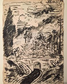 A nice drawing from 18 yrs old Miklos Németh from 1952 Expressionism, Hungary, Budapest, 18th, Abstract, Nice, Drawings, Artist, Artwork