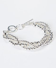 Look what I found on #zulily! Silver-Plated Triple-Strand Bead Bracelet #zulilyfinds