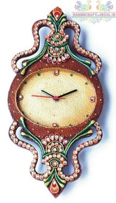 A unique collection of  clocks to adore your room. It Is made up of paper-mache decorated with kundan stone and ceramic stone