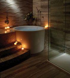 Japanese-style bathroom with round soaking tub.