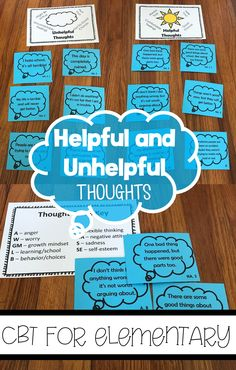 Love to help your students with positive self-talk and helpful thinking? This is a giant set of helpful and unhelpful thoughts to use with positive attitude and cognitive/CBT work with students. They're also a great partner to books like Baditude! They ar Elementary School Counselor, School Counseling, Elementary Schools, Group Counseling, Counseling Activities, Therapy Activities, Play Therapy, Therapy Ideas, Coping Skills