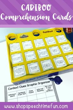Use your Cariboo game with your older elementary students with these comprehension cards.  Work on main idea, inferencing, cause/effect, context clues and more.  Visual aids provided to make learning fun and functional in speech and language therapy.