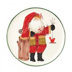 Old St. Nick Round Platter With Bird