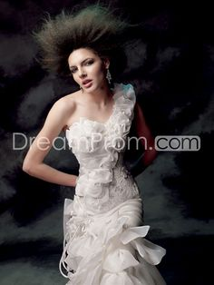 Faddish  Trumpet/Mermaid  One-Shoulder Floor-Length  Tiered Wedding Dresses 2014 Fashion Trends