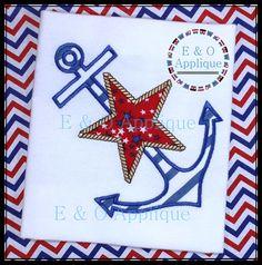 Anchor Star Applique Design  Anchor Embroidery by EandOApplique