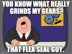 Peter Griffin News Meme | YOU KNOW WHAT REALLY GRINDS MY GEARS? THAT FLEX SEAL GUY. | image tagged in memes,peter griffin news | made w/ Imgflip meme maker