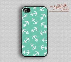 Mint green and anchor iPhone 4 Case, iPhone 4s Case, iPhone 4 Hard Plastic Case, iPhone Case. $6.99, via Etsy.