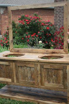 VOTRE Custom Made Grange bois Double vasque par timelessjourney