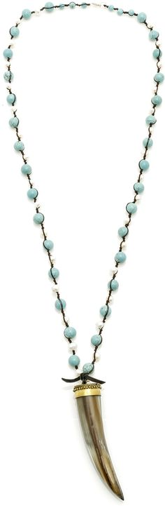 Bejeweled Turquoise Pearl Horn