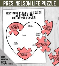 A Year of FHE // A free printable of a puzzle with facts from LDS Prophet President Russell M. Nelson's life. Great for Primary, Family Home Evening or a sabbath activity for families.