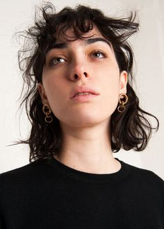 """Light Weight, Triple Round Hoop Link Earrings for Pierced Ears. Hollow BrassHoops w/ Gold Fill Post Back Made from Vintage Brass Components 1.5""""H x 0.9"""" Widest Width By Laura Lombardi. Made by hand in NYC"""