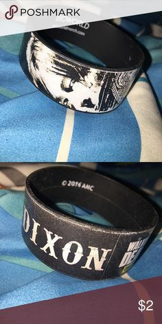 """Walking Dead! Daryl Dixon Wristband! Wristband with picture of Daryl with the word """"Dixon"""" and Walking Dead logo. Hot Topic Accessories"""