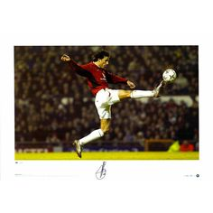 """Ruud Van Nistelrooy Manchester United Autographed 23"""" x 16"""" Leaping Kick Photograph - ICONS"""