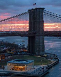 "@maximusupinnyc on Instagram: ""Saturday night's pink skies over the New York Harbor 3.3.18 #BrooklynBridgePark #Brooklyn #Dumbo…"""