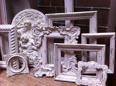 Large Empty Gallery Frame Set, Wedding White Shabby Chic Vintage Frame Set, Mother Goose Open Frames Gallery Wall Frames via Etsy