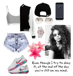 """""""Fxckin Perfect🎶"""" by madisonpeters00 ❤ liked on Polyvore featuring NIKE, Brixton, Ray-Ban, Rolex, New Look and Love Quotes Scarves"""