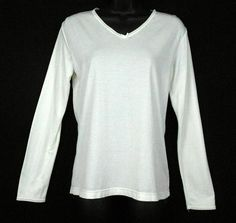 Sonona Warmwear Top Ivory Size M Cotton Blend Solid Long Slv Lace V Neck Shirt - This womens Cotton and Nylon-blend lace trimmed long sleeve v-neck  top is an ideal warm layer which glides on easily under clothing.