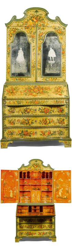 An Italian polychrome lacquered chinoiserie bureau cabinet, Venetian, mid 18th century, the upper section with an arched cresting above a pair of doors to reveal a red and gilt chinoiserie lacquered interior with various pigeon holes a pair of cupboard doors and four serpentine drawers, the lower section with a fall-front opening to reveal a chinoiserie red and gilt interior with a sliding top, the sides similary decorated to the front