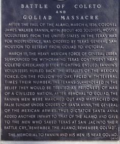 """Remember the Alamo, Remember Goliad""  As spring approaches take a moment to remember this history lesson. For all my Texas friends!"