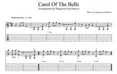 "Six-string guitar arrangement by Margarita Gershunova for Christmas song ""Carol Of The Bells"" Guitar Tabs Songs, Music Tabs, Guitar Sheet Music, Carol Of The Bells, Kalimba, Pentatonix, Xmas, Christmas, Margarita"