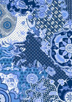 TOPMAN prints | Saskia Pomeroy Batik Art, Batik Prints, Textile Prints, Textile Design, Pattern Art, Pattern Design, Embroidery Techniques, Mixing Prints, Textile Patterns