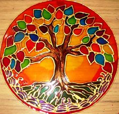 Arbol de la Vida----------------------------Abrazo a Gaia    Flor de Gaia----------------------------Mandala Ascension Stained Glass Paint, Stained Glass Projects, Stained Glass Patterns, Mosaic Patterns, Tree Of Life Art, Tree Art, Mandala Painting, Stone Painting, Recycled Cds
