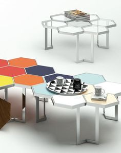 Low glass and steel coffee table HONEY by @altinox