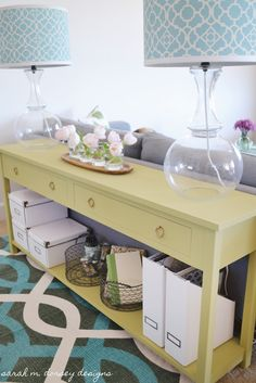 Obsessed with this console table. I'll take one in white or espresso please. From: Sarah m. dorsey designs: Home Tour