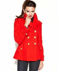 INC International Concepts Coat, Double-Breasted Pleated Pea Coat - Coats - Women - Macy's