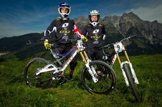 Gee Atherton and Marc Beaumont with their GT Fury DH Bikes
