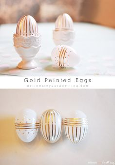 Gold Striped Eggs, perfect for Easter or Spring decor!  I used a bag of white plastic $0.99 eggs, so it's very cost effective, too! Delineateyourdwelling.com