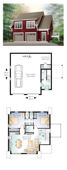 Garage Apartment Plan 64817 | Total Living Area: 1068 sq. ft., 2 bedrooms and 1 bathroom. #garageapartmentplan #carriagehouse