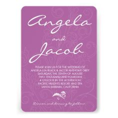 Typography Radiant Orchid Purple Floral Wedding Invitation. This text dominant design is a great color combination for an orchid themed wedding. #weddings #invitations #typography #weddinginvitations   $2.15 per card on basic paper. Volume discounts available up to 45% off. Different paper types to choose from too.