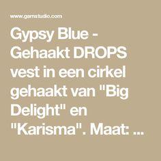 """Gypsy Blue - Gehaakt DROPS vest in een cirkel gehaakt van """"Big Delight"""" en """"Karisma"""". Maat: S - XXXL. - Free pattern by DROPS Design"""